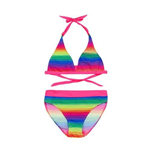 QinMM Bañador Bikini Arco Iris del Niñas Dos Piezas, Traje de Baño de Verano Playa (11-12 Años, Multicolor)