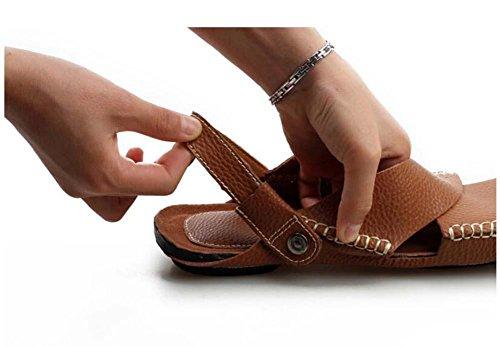 Pompa Uomini Punto chiuso All'aperto Sport sandali Pantofole Cavo Pelle Doppio uso Antiscivolo Inghilterra Stile Sandali da spiaggia Scarpe casual sneaker Dimensioni Eu 38-44 white
