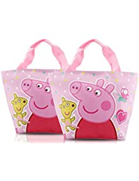 Finex - Set Of 2 - Pink Peppa Pig Zippered Lunch Tote Bag With Carry Handles - EZ-Carry Totes