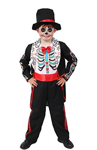 ILOVEFANCYDRESS Kinder Jungen=Day of The Dead KOSTÜME VERKLEIDUNG Hose FRACKJACKE + Hut=Sugar Skull Motive =TOLL FÜR Halloween ODER Fasching UND Karneval=Large (Sugar Skull Kostüm Jungen)