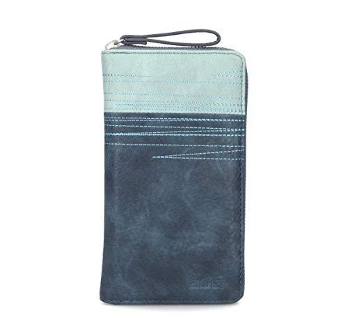 2 Tasche Mit Reißverschluss-tasche (Zwei Geldbeutel Portemonnaie Geldbörse Cherie CH2-z Kunstleder, Farben Taschen:Petrol)