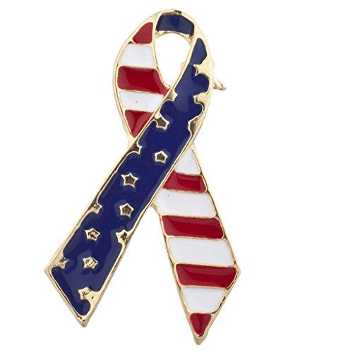 LUX Zubehör American Flagge Gold Ton Unabhängigkeit Tag Band Form Brosche Pin