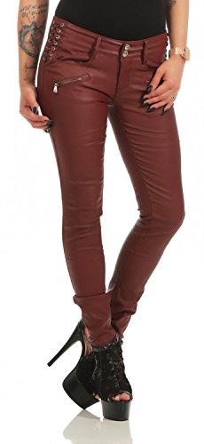 Damen Bootcut Hose Leder-Optik Skinny (618), Grösse:L, Farbe:Bordeaux (Damen Leder Hose)