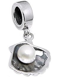 Pendentif en argent sterling 925avec perle d'eau douce Pendentif Perle pour bracelets de type Pandora/Charms
