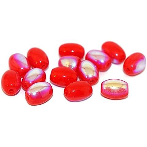 Rosso AB Vetro ceco Tubo Ovale Perline di forma Oblunga 8mm x 6mm 20pcs