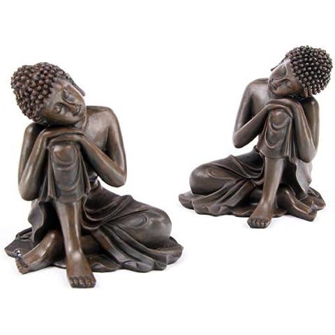 Puckatour - Coppia di statuette effetto legno, raffiguranti Buddha tailandese che riposa, colore: marrone
