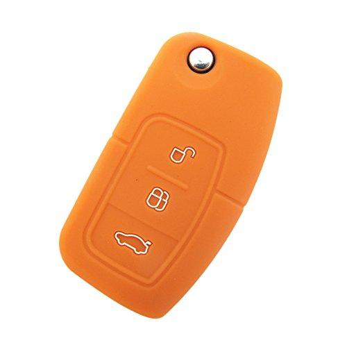 Happyit 2 Pcs Silicona coche clave cubierta de la cubierta de la caja para Ford Fiesta Focus 2 Ecosport Kuga Escape MK2 3 botones Flip Key (Naranja)