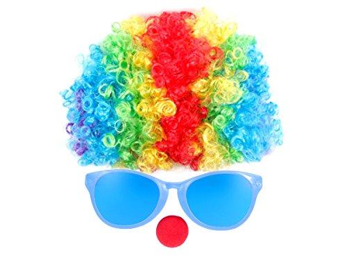 Clown Kostüm Verkleidung Clown-Outfit mit Afroperücke, Riesenbrille und roter Clownnase - 3-teiliges Clownkostüm Set KV-85 ()