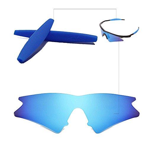 Walleva Wechselgläser Und Earsocks für Oakley M Frame Sweep Sonnenbrille - Mehrfache Optionen (Eisblau Polarisierte Linsen + Blauer Gummi)