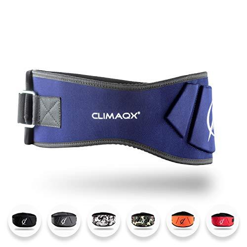 Climaqx Fitness Gewichthebergürtel Bodybuilding-Gürtel für Herren & Damen Gewichthebergurt für Kraftsport, Powerlifting und Crossfit (Blau, Größe XL)