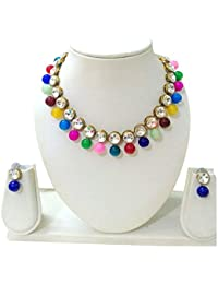JN Handicraft Multicolour Beads Kundan Stone Studded Necklace Set For Women/Girls