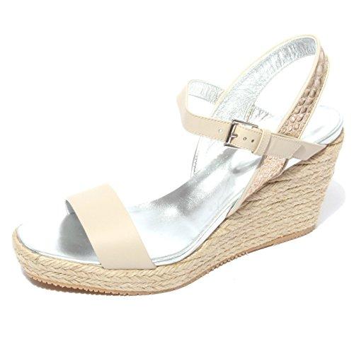 B0702 sandalo donna HOGAN H266 scarpa zeppa corda shoes women Beige