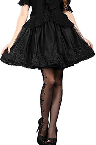 Jupon noir quatre épaisseurs dentelle broderie gothique vampire victorien