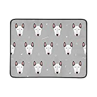WOCNEMP Little Bull Terriers Portable And Foldable Blanket Mat 60x78 Inch Handy Mat For Camping Picnic Beach Indoor Outdoor Travel