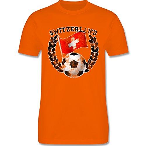 EM 2016 - Frankreich - Switzerland Flagge & Fußball Vintage - Herren Premium T-Shirt Orange