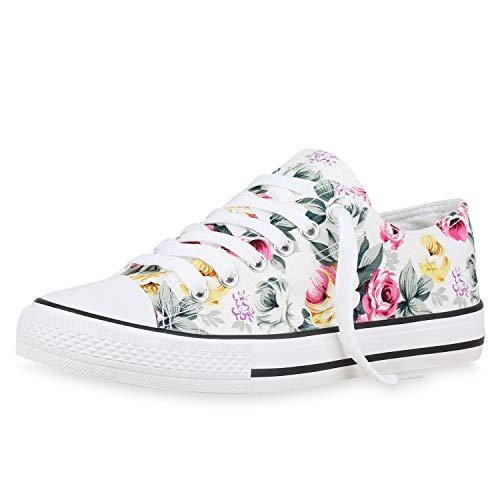 SCARPE VITA Damen Sneaker Low Blumen Turnschuhe Schnürer Stoff Schuhe Flats Freizeit Schnürschuhe 176381 Weiss Blumen 37 (Schuhe Blume Stoff)