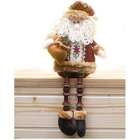 Christmas Santa Claus Plush Stuffed Toy Standing Collectible Figurines Stacking Figure Toy Xmas Home Indoor Table Display Ornament Party Decoration Costume, Christmas Gift by