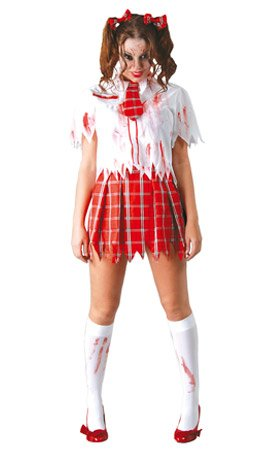 Halloween Ecoliere Kostüm - DISFRAZ COLEGIALA ZOMBIE MUJER-TALLA M-L