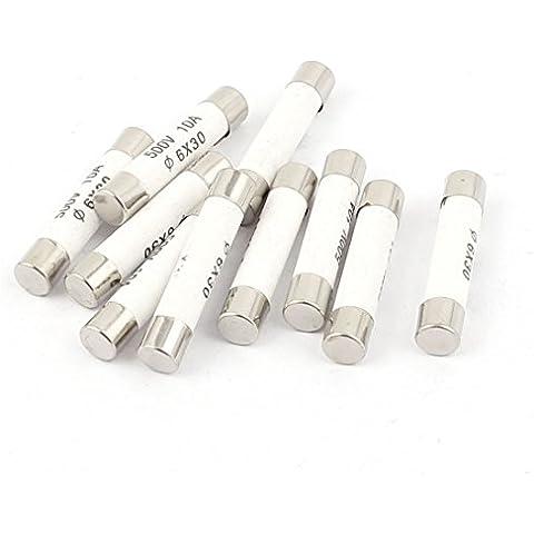 Sourcingmap-10pcs 500V 10A bajo Capacidad de ruptura 6x 30mm cartucho fusible de cerámica