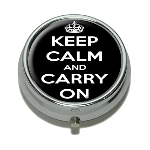 Keep Calm and Carry On Black Pill Case Trinket Gift Box by Graphics and More