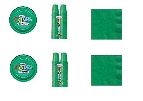Cdc - kit n°1 coordinato monocolore verde da tavola per festa e party ed ogni ricorrenza - ( 30 piatti, 100 bicchieri , 50 tovaglioli )