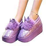 Plataforma Impermeable para Mujer Zapatos De Invierno Conejo Lindo Orejas De Casa ResbalóN En Las Mujeres CuñAs Mocasines Al Aire Libre