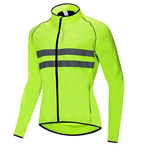 Bili Fahrradjacke Herren radjacke Winddicht Windbreaker männer Windjacke Damen Wasserdichte Sportbekleidung für Radfahren Laufen Angeln Bergsteigen(Grün,3XL)