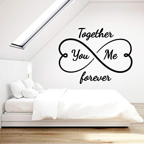 haochenli188 Liebe Vinyl Wall Decal für Schlafzimmer Sie und ich zusammen für Immer Infinity Hearts Art Aufkleber Interior Deco 75x57cm (Den Infinity-wandtattoos Sie Lieben, Um)