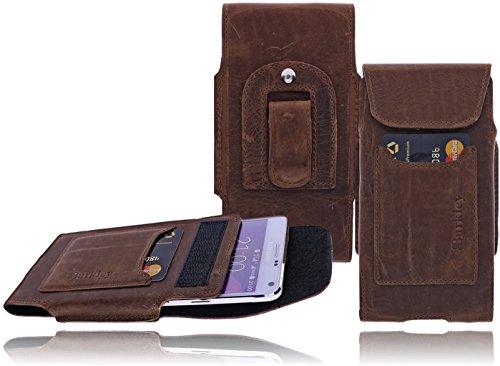 Case Iphone 5s Gürtel Leder Clip (Burkley - Vintage Design - Leder Handyhülle für Apple iPhone SE / 5 / 5S Gürteltasche | Schutzhülle | Handytasche | Vertikal-Tasche | Holster | Case | Cover | Hülle mit Gürtel-Schlaufe und Gürtel-Clip (Kaffee Braun / Vertikal))