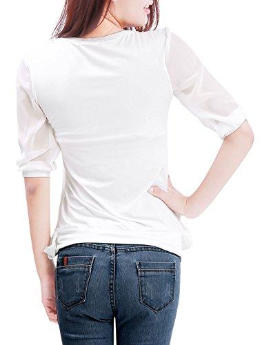 Allegra K Femme Manches Courtes Panneau Élastique D'été Décontracté T-shirt Haut Blanc