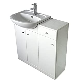 Yubo 50 Bathroom Vanity Set w/ 30cm Storage, high gloss white, ceramic 50cm semi-recessed basin, w/ tap, drain & T-trap YWT7152