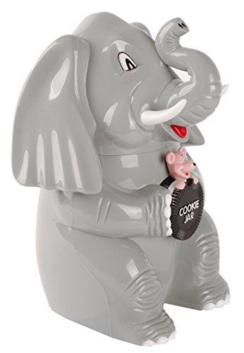 Dresz Keksdose/Bonbondose, Trompetender Elefant, aus Strapazierfähigem Hochglanz Kunststoff Hergestellt, Batterien Inbegriffen, Plastik, Grau, 21 x 15 x 25 cm