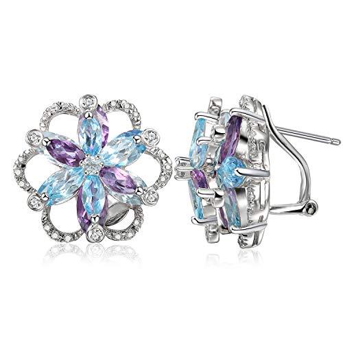 JewelryPalace Ametista Topazio Svizzero Azzurro Fiore Orecchini in Argento Sterling 925