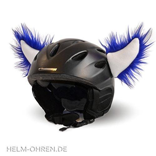 Helm-Ohren Hörner für den Skihelm, Snowboardhelm, Kinder-Helm, Kinder-Skihelm oder Motorradhelm - der HINGUCKER - für Kinder und Erwachsene HELMDEKO (Blau-Weiß)