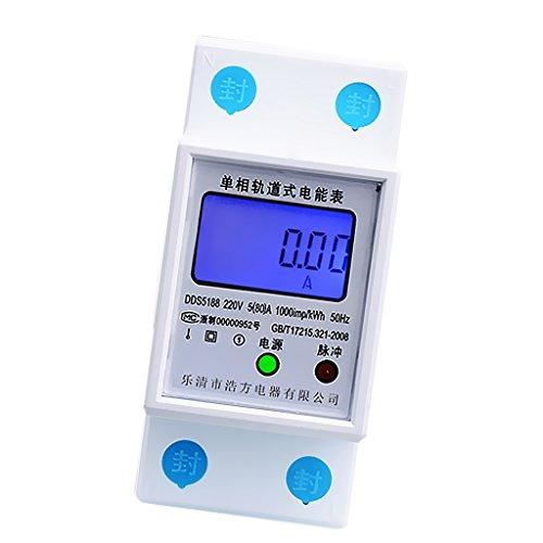 MagiDeal LCD Stromzähler Energiezähler Energiemeter Schaltkasten Din Rail Wattzähler - 5 (20) A