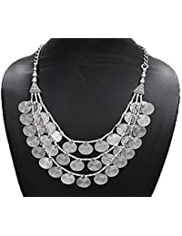 AyA Fashion Designer Oxidized Silver German Silver Multi Layer Coin Style Necklace | Suitable For Women And Girls...