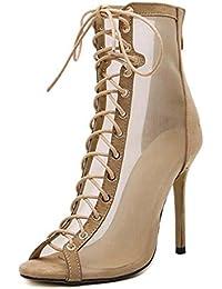 Mujeres Cool Boots 11cm Stiletto Peep Toe Net Yarn Cross Straps Zapatos de vestir Charming Hollow Pure Color Zipper Court Shoes Roma Zapatos Eu Tamaño 33-43 ( Color : Beige , tamaño : 34 )