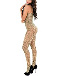 HXQ Body de cuerpo entero para mujer, leopardo Jacquard Bodystocking encaje talla única