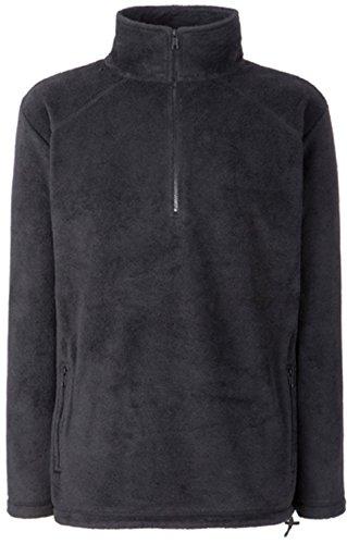 Fruit of the Loom Herren Sweatshirt Half Zip Fleece, Black (Black 00), Large (Zip Half Schwarz Pullover)