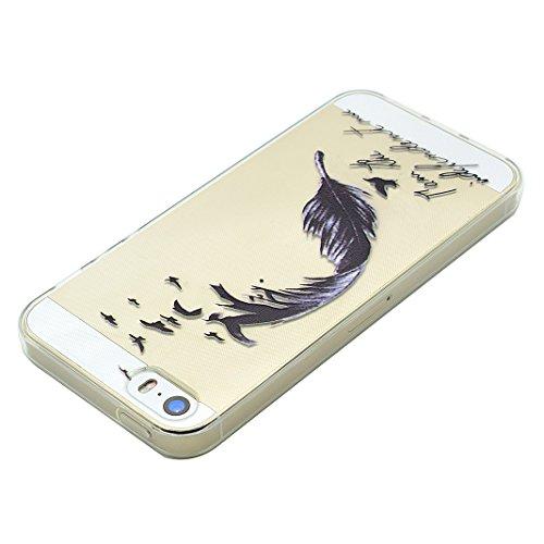 Schutzhülle iPhone 7 Plus 5.5 Zoll Case, iPhone 7 Plus Handyhüllen, iPhone 7plus Silikon Cover, Moon mood® Soft Schutzhülle für Apple iPhone 7 Plus Ultra Thin Dünn Weiche TPU Schutz Etui Cover, iPhone 1-Schwarze Feder