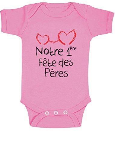 Green Turtle T-Shirts Notre 1er fête des pères Coffret pour bébé Body Bébé Manche Courte 3-6 Mois Rose