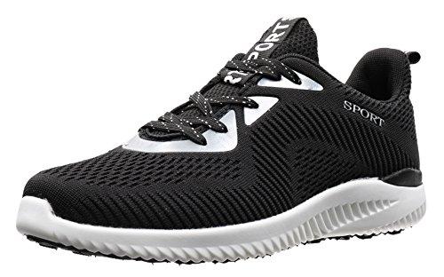 JOOMRA Damen Lightweight im Angebot Schuhe Arbeitsschuhe Straße Gehen mit Rutschfestem Design Herren Jungen Mädchen Frauen Männer Sneaker Schwarz, Weiß 38 EU (39 Asien)