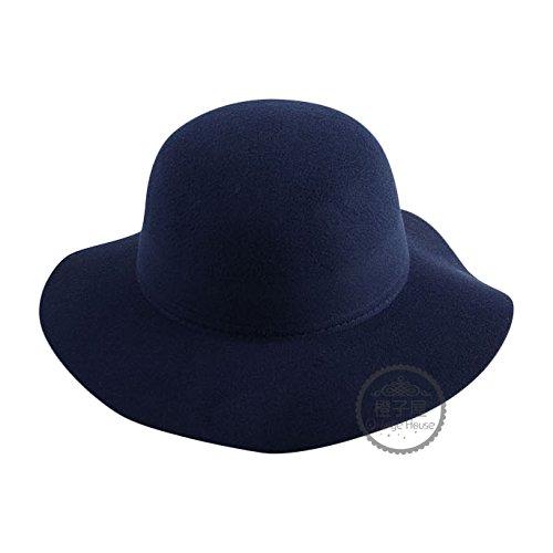 ZHGI Feltro di lana Hat elegante cupola ondulata benna carino Hat,blu navy