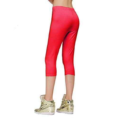 DIAMONDKIT cotton stretch capri legging de sport doublé pour femme Rouge - Rot - Rot