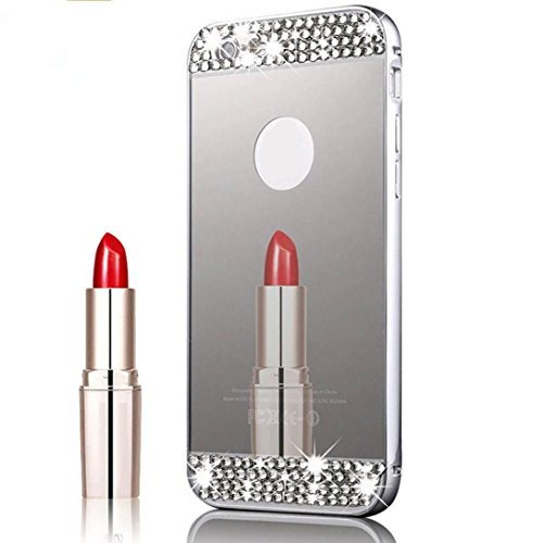 Ouneed® Hülle für iphone 7 4.7 Zoll , Luxury Mirror Bling Crystal Back Case Cover für iPhone 7 4.7 Zoll (4.7 Zoll, Rosengold) Silber