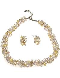 Oi! - N2883/E2883 - Parure Boucles d'Oreille et Collier Femme - Perle/Cristal - Perle d'eau douce
