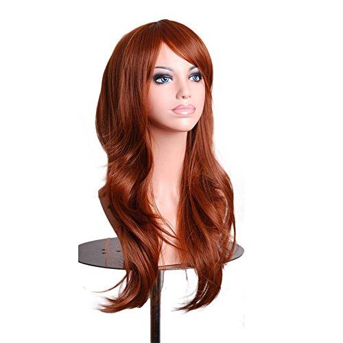 LSERVER Perruque Cosplay Costume Cheveux Pour Femmes Long Complète bouclé ondulé Chaleur résistant 70 cm Haute Qualité, Brune