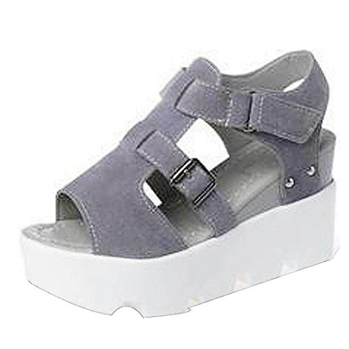 Frau Fischkopf dicke Kruste Sandalen , Kaiki Damen Sommer Sandalen Schuhe Peep-Toe High Schuhe Römische Sandalen Damen Flip Flops Gray