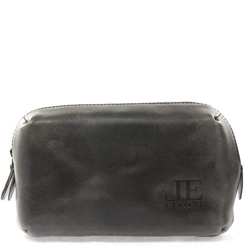 LECONI Utensilientasche Kosmetiktasche Schminktasche Make-Up-Tasche Stiftemappe für Damen Herren aus Büffel-Leder 21x14x8cm dunkelgrau LE9018-buf