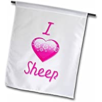 Blonde Designs Pretty Pink Flowery i Love Animals Heart Pretty Pink Flowery i Love Sheep Garden 30,5 x 45,7 cm, decorativo double Sided Garden Flag